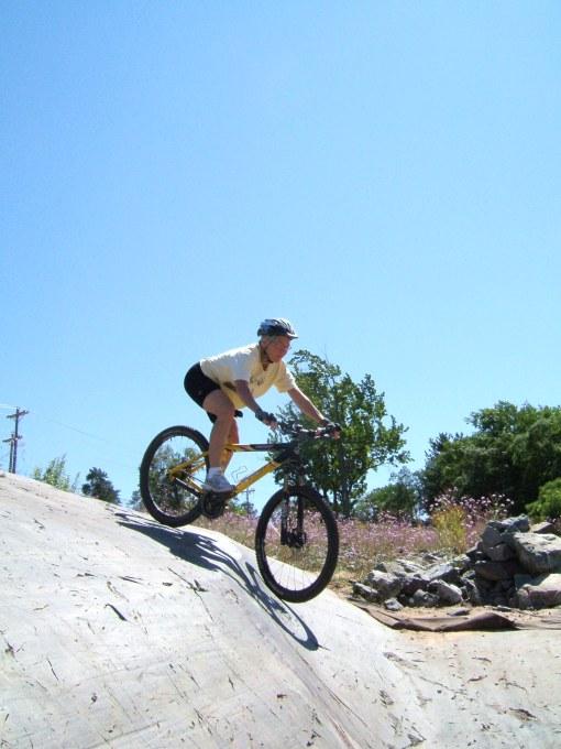 Terri on the campground slickrock