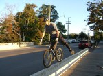 ssssssskinny!  Using my foot to correct an imbalance without steering.  It's just a jump to the left…….
