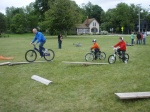 Families learning to shred the mini obstacles